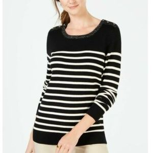 Charter Club Embellished Stripe Crew Neck Sweater